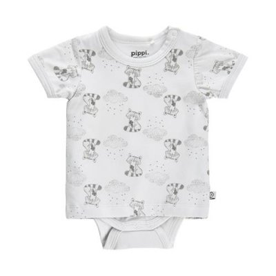 T-shirt med body med fint mönster ORGANIC COTTON från PIPPI